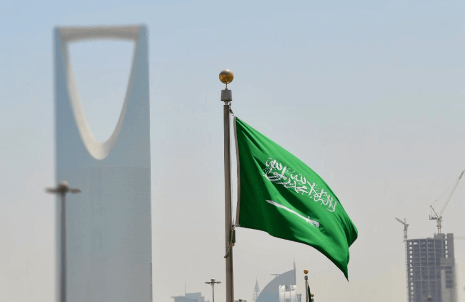 Saudi Arabia flag on Riyadh Streets